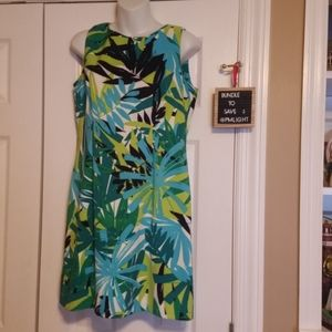AGB Dress Petite 12P Sleeveless Tropical leaves